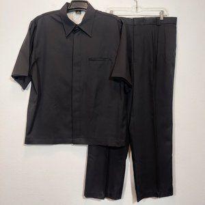 VITALIANO Mens Black Dress Shirt & Pant Suit